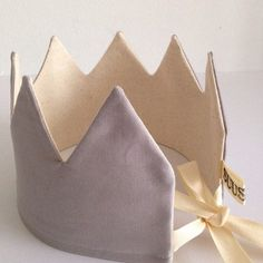 Grey Crown by Suussies. Made from cotton, these reversible crowns are perfect for a birthday Sewing For Kids, Diy For Kids, Sewing Crafts, Sewing Projects, Fabric Crown, Crown For Kids, Fashion Dress Up Games, Felt Crown, Diy Crown