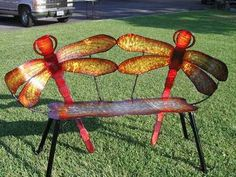 dragonfly bench Love the colors