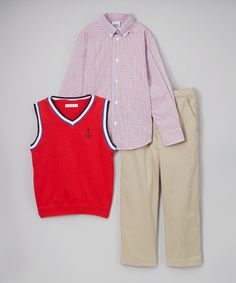 Red Anchor Sweater Vest Set - Boys
