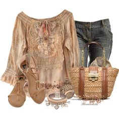 """Boho Chic"" by flowerchild805 on Polyvore ~~ Not 100% sold on the blouse but I do like the outfit over all"
