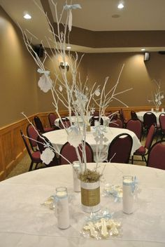 Baptism centerpiece tree-guest can write messages for baby!