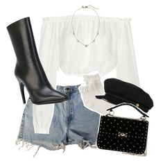 A fashion look from February 2018 featuring off the shoulder tops, summer shorts and frilly socks. Browse and shop related looks. Girls Fashion Clothes, Girl Fashion, Fashion Looks, Fashion Outfits, Badass Outfit, My Outfit, Frilly Socks, Star Girl, Denim Style