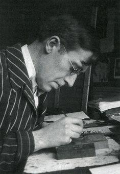 illustratie Frans Masereel De houstsnijder aan het werk, januari 1925 (foto Thea Sternheim)