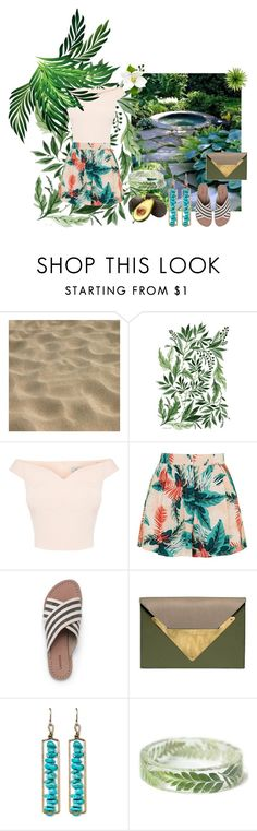 """""""Tropical outfit"""" by kennycoptero ❤ liked on Polyvore featuring Topshop, Lands' End, Dareen Hakim and Natasha Accessories"""