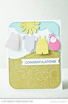 Bundle of Baby Clothes Die-namics, Blueprints 31 Die-namics, Stitched Sentiment Strips Die-namics, Stitched Scallop Basic Edges 2 Die-namics, Stitched Triple Peek-a-Boo Window & Edge Die-namics, Stitched Flowers Die-namics, Essential Sentiments Stamp Set, Bundles of Blossoms Background - Keisha Campbell  #mftstamps