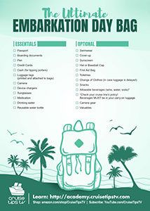 Ultimate Embarkation Day Bag Checklist | CruiseTipsTV Packing List For Cruise, Carry On Packing, Cruise Tips, Cruise Vacation, Vacation Ideas, Day Bag, Tahiti, Dodge, Alaska