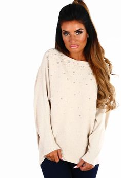 Cold Outside Stone Pearl Batwing Jumper   Pink Boutique