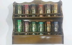 1987 Watkins Spice Wood Rack and 12 Limited Edition Collector Spice Tins