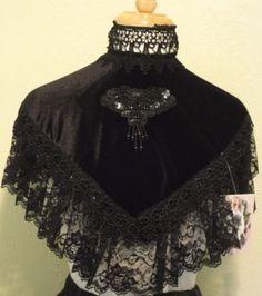 Victorian Wraps, Capes, Shawl, Capelets   ELSIE MASSEY Black Velvet Victorian High Collar Steampunk Dickens $82.00 AT vintagedancer.com