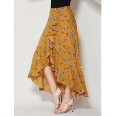 Yellow Floral Print Ruffle Asymmetric Hem Wrap Tulip Skirt Woven fabric Mid-rise waist All over floral print Wrap front design Ruffle trim Hand wash SEE DETAILS. Tulip Skirt, Ruffle Skirt, Dress Skirt, Ruffle Trim, Maxi Skirts, Long Floral Skirts, Wrap Skirts, Chiffon Skirt, Floral Maxi