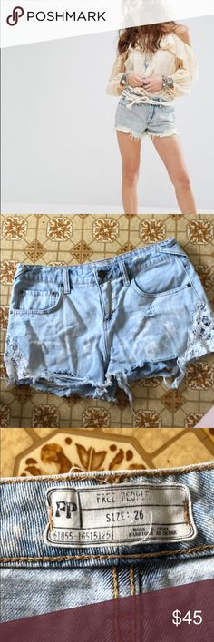 Free people daisy chain lace denim shorts Free people daisy chain lace denim shorts. Size 26. Excellent condition. Distressed. Bleached out areas is part of the distressing of the shorts. Free People Shorts Jean Shorts
