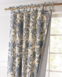 Toile Linens Toile Reversible Curtain - traditional - curtains - - by Horchow