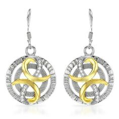 Earrings With Cubic zirconia Made of 14K/925 Gold plated Silver. Total item weight 5.6g Length 36mm Unknown. $99.00