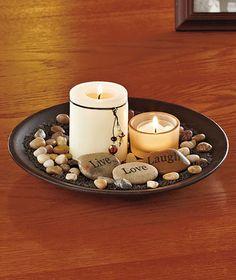 New Live Laugh Love Candle Garden Table Centerpiece w Bamboo Tray Stones Pillar   eBay