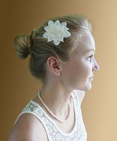White on White Felt Flower Hair Clip with by dorothydesigns