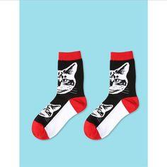 CHAOZHU Korea Japanese Fashion Cartoon Cat/Dog Socks For Women Girls Cozy Lovely Socks French Bulldog Pattern Chaussettes Sox