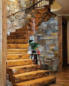 We love rustic luxury homes photos) - forest rustic outdoor nature mountain log cabin house cott Rustic Staircase, Staircase Design, Staircase Ideas, Railing Ideas, Cabins In The Woods, House In The Woods, Rustic Bathroom Designs, Rustic Bathroom Vanities, Log Cabin Homes
