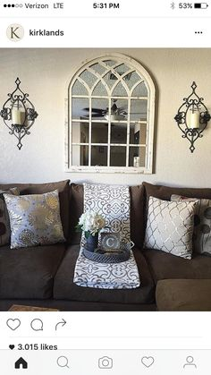 There is so much beautiful in this photo of home, all centered around our Distressed Cream Sadie Arch Mirror! Home Living Room, Apartment Living, Living Room Decor, Above Couch, Mirror Over Couch, Kirkland Home Decor, Interior Decorating, Interior Design, Room Wall Decor