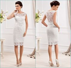 Custom Made Elegant Sheer Scoop Neckline Sleeveless Short Wedding Dresses 2014 Cheap Lace Bridal Gowns Stain Sash _ {categoryName} - AliExpress Mobile Version - Short Lace Wedding Dress, Civil Wedding Dresses, Wedding Dresses For Sale, Cheap Wedding Dress, Bridal Lace, Bridal Dresses, Wedding Gowns, Lace Dresses, Cheap Dresses