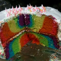 Rainbow cake! Neon colors and I frosted it myself!