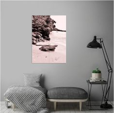 Displate posters made out of metal.  Returns within 100 days!  For every Displate bought, we plant 1 tree!  Every purchase supports an Artist.  A sepia monochrome capture of beautiful beach rocks. #wallart #walldecor #prints #posters #metalprint #displate #beachart #beachprint #shop #sales #decoration #homedecor #coastalart #bohodecor