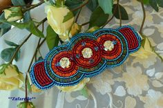 Bead embroidery bracelet  in ethnic style by Zafarelle on Etsy, $75.00