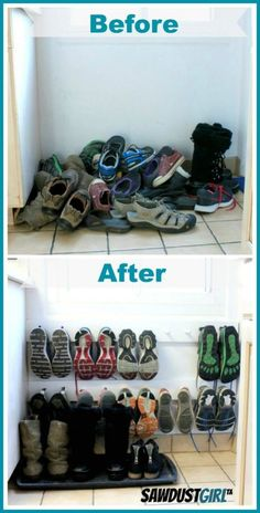 coat rack hung low on the wall makes a space-saving shoe rack. And many other awesome diy home organization ideas!A coat rack hung low on the wall makes a space-saving shoe rack. And many other awesome diy home organization ideas! Entry Organization, Organization Hacks, Coat Closet Organization, Organization Ideas For Shoes, Organize Coat Closet, Organizing Shoes, Utility Closet, Organizing Tips, Space Saving Shoe Rack