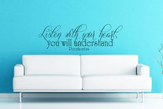 Art Wall Decals Wall Stickers Vinyl Decal Quote - Listen with all your heart you will understand - Pocahontas