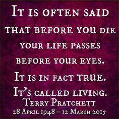 It is often said that before you die your life passes before your eyes. It is in fact true. It's called living. ~ Terry Pratchett