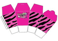 Monster High: cajas para imprimir gratis. Festa Monster High, Monster High Party, Zebra Rosa, Party Gifts, Party Favors, Popcorn Holder, Oh My Fiesta, Barbie, Ideas Para Fiestas