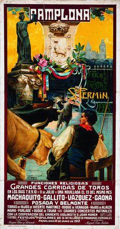 Cartel de los Sanfermines de 1913 - Ferias y fiestas de San Fermín, Pamplona :: Autor: Juan García de Lara. #Pamplona