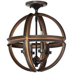 Candelabra style lights sit within the orb-shaped metal frame of this bronze ceiling light for a timeless look. Style # at Lamps Plus. Hallway Ceiling Lights, Kitchen Bar Lights, Bar Lighting, Wine Cellar, Candelabra, Lamp Light, Chandelier, Bronze, Contemporary