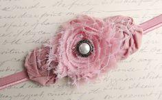 Shabby Chic Baby Flower Headband - Enchantment in Dusty Rose. $15.95, via Etsy.