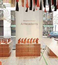 benjamin hubert: antecedents exhibition at aram store during LDF designboom