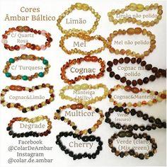 Diferentes cores ou combinações das mesmas em pulseiras ou colares de Ambar Báltico