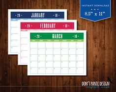 Printable Wall Calendar Planner  Fun Colorful Monthly Wall