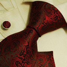 Red Black Paisleys designer mens ties wedding « Holiday Adds