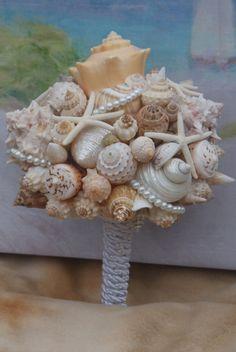 Items similar to Bridesmaid Seashell Bouquet / Beach Bouquet/ Destination Bouquet/ Seaside Bouquet/ Summer Bouquet/ Wedding Bouquet on Etsy Seashell Bouquet, Seashell Wedding, Beach Wedding Reception, Seaside Wedding, Nautical Wedding, Destination Wedding, Seahorse Cake, Seahorses, Bouquet Holder