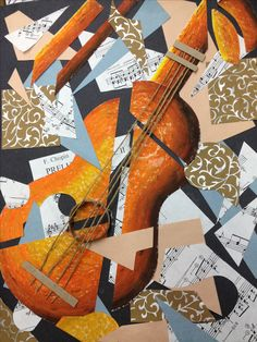 Picasso Guitar - Cubist Collage Music Painting, Music Artwork, Art Music, Cubist Artists, Cubism Art, Picasso Collage, Collage Art, Pablo Picasso, Collages