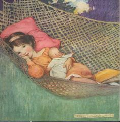Girl lies dreamily in a hammock, clutching her doll, the book she has been reading fallen down at the bottom of the hammock