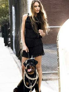 street chick model and dog