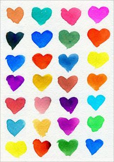 Color Mixing Hearts. Drawing with your brush, and mixing as many colors as possible with Crayola Mixable Watercolor Set. #crayola