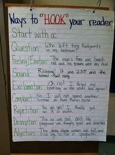 Ways to Hook Your Reader Anchor Chart