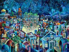 Night Jerusalem by Vladimir Mingar. 60 x 80 cm acrylic on canvas Jewish Art, Religious Art, Jerusalem, Shabbat Shalom Images, Arte Judaica, Moroccan Art, Prophetic Art, Biblical Art, Mobile Art
