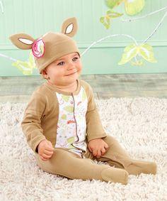 $16.99 marked down from $25! Brown Dear Sweet Deer Footie Pajamas & Beanie #baby #deer #zulilyfinds