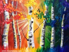 Rainbow Birch tree forest painting tutorial. This easy painting idea on canvas with Sign language translations by the Art sherpa on youtube