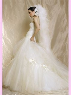 White Ball Lace Tulle Wedding Dress