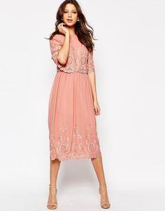 ASOS TALL PREMIUM Midi Embroidered Dress