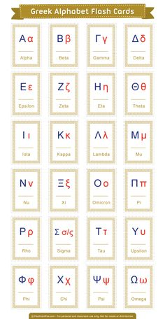 Greek alphabet cards on the greek letters alphabet stencils greek letter wall es art how to write the greek alphabet 4 greek alphabet flip dropsPrintable… Alphabet A, Greek Alphabet, Alphabet For Kids, Alphabet Charts, Ancient Alphabets, Greek Words, Greek Mythology, Ancient Greek, Letters