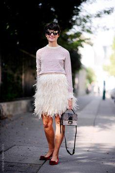 A Feminine Tomboy - another way to wear my skirt, yay! Fashion Moda, Skirt Fashion, Fashion Trends, Sandro, Street Chic, Street Style, Feminine Tomboy, Mode Chic, Looks Style